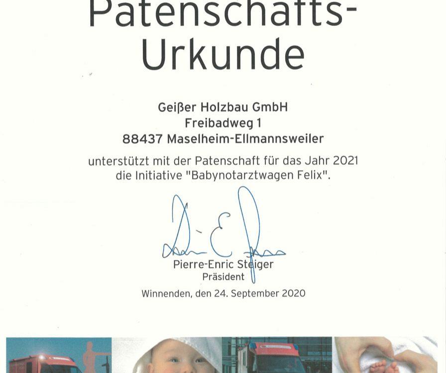 Patenschaft Babynotarztwagen Felix